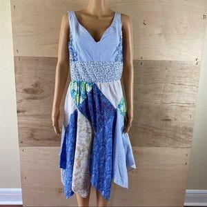 Vintage Handmade Patchwork Asymmetrical Hem Dress